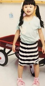 Girl lace cotton T-shirts and strips skirt